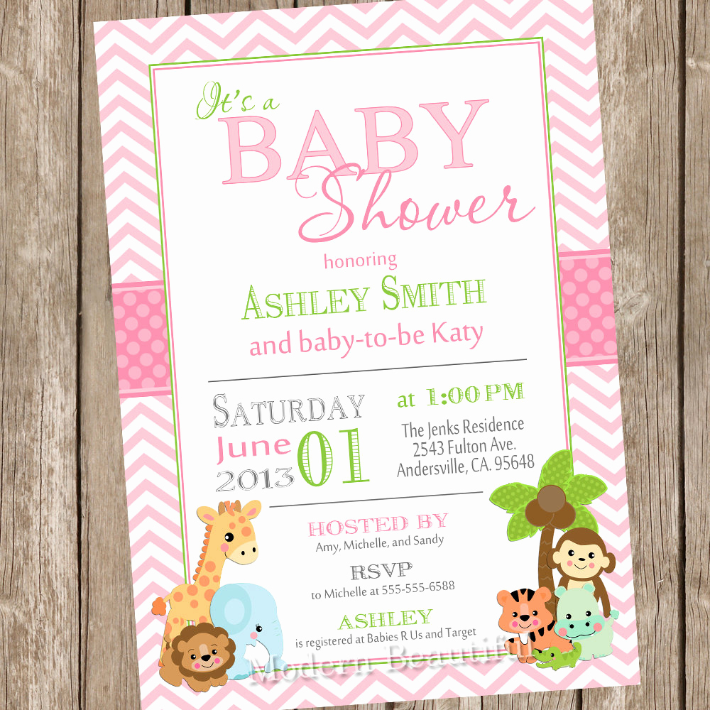 Jungle Baby Shower Invitation Lovely Girl Jungle Baby Shower Invitation Jungle Chevron Green