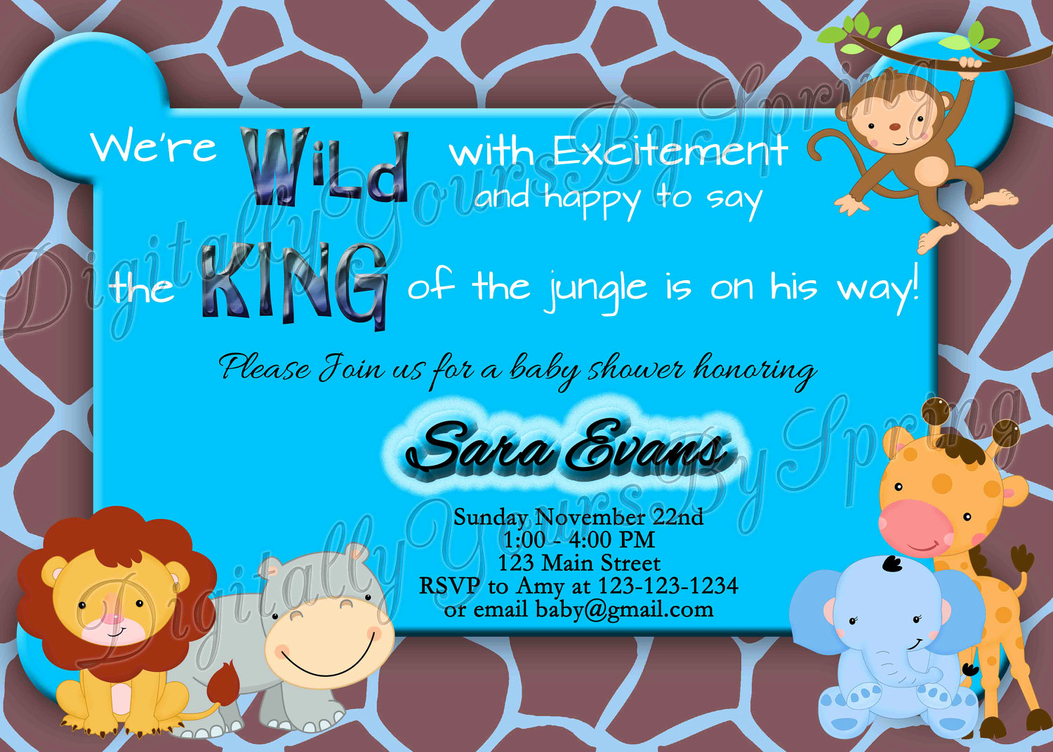 Jungle Baby Shower Invitation Lovely Printable Baby Shower Invitation Jungle Safari theme You