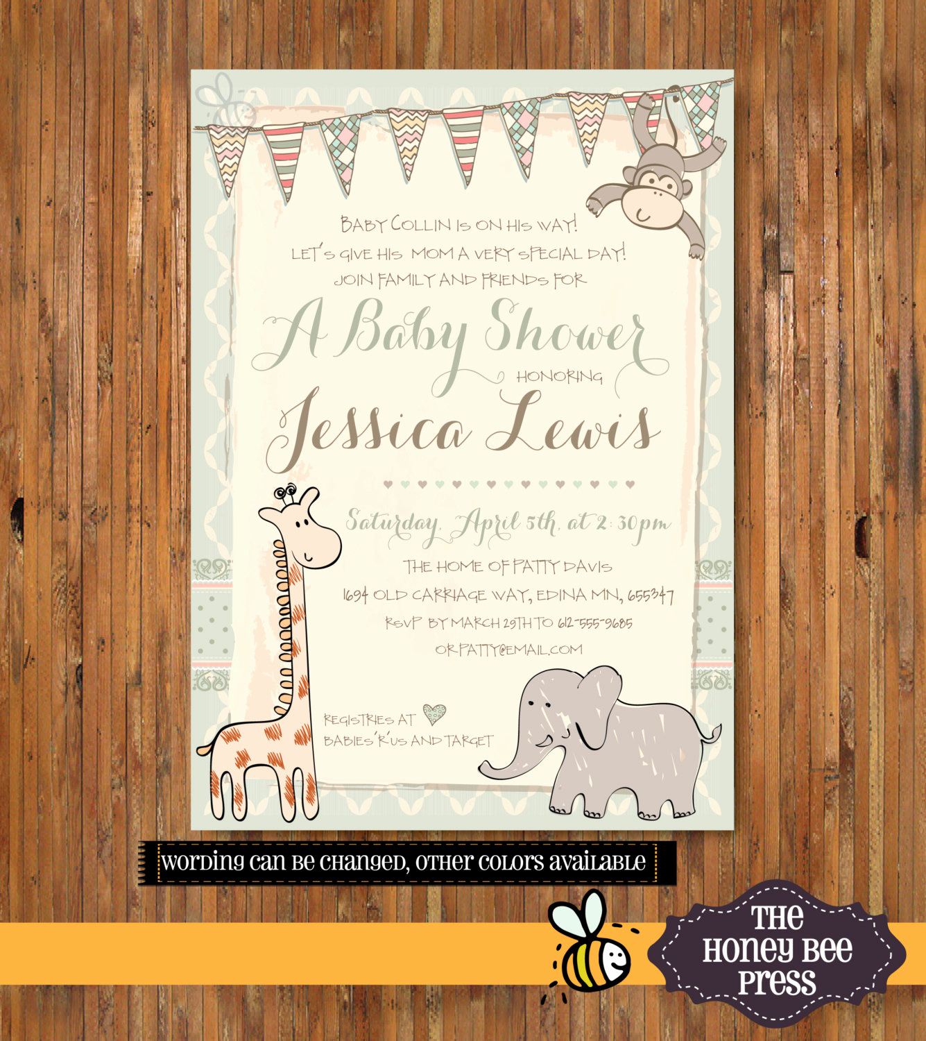 Jungle Baby Shower Invitation Lovely Shabby Chic Jungle Baby Shower Invitation Safari Baby Shower