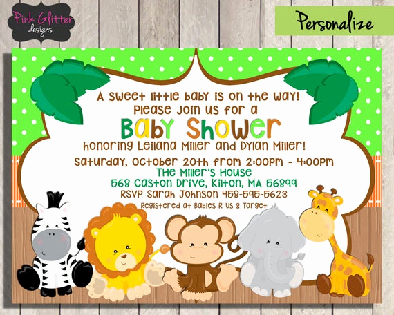 Jungle Baby Shower Invitation New Jungle Baby Shower Invite Jungle Baby Shower Invitation