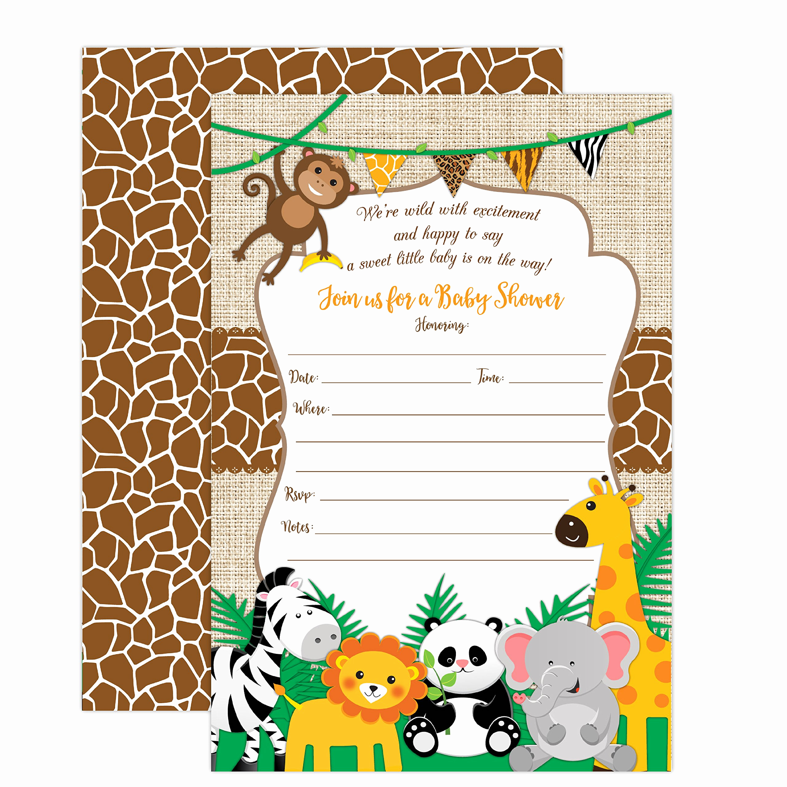 Jungle Baby Shower Invitation Unique Amazon Jungle Printed Diaper Raffle Tickets Boy