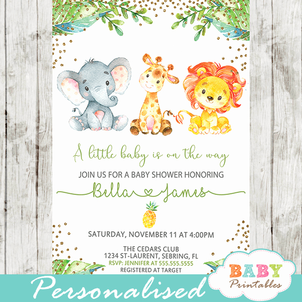 Jungle Baby Shower Invitation Unique Jungle Animals Baby Shower Invitations – D445 Baby