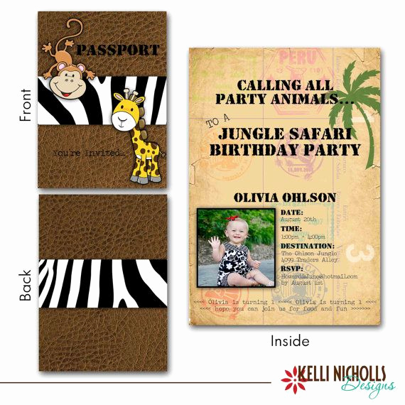 Jungle theme Birthday Invitation Awesome Custom Jungle Safari Passport Birthday Party Invitation