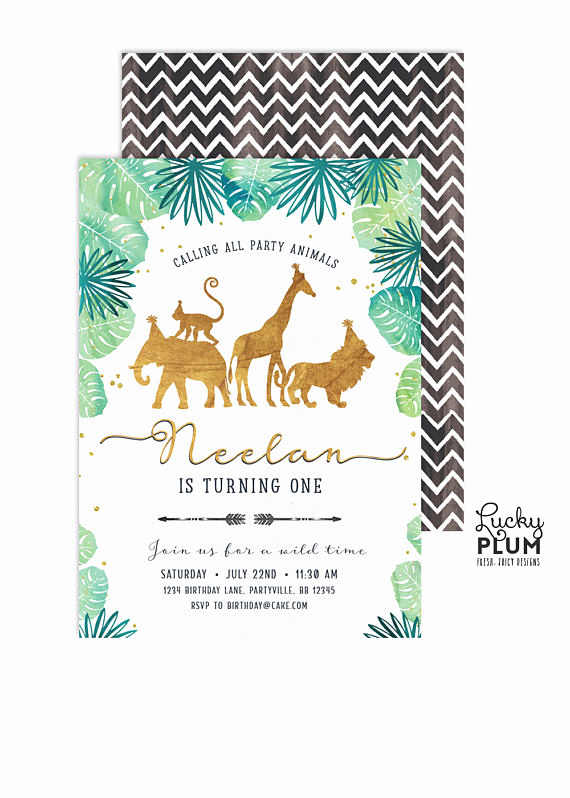 Jungle theme Birthday Invitation Awesome Gold Safari Birthday Invitation Jungle Birthday Invitation
