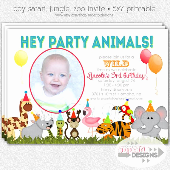 Jungle theme Birthday Invitation Awesome Items Similar to Zoo Jungle Safari themed Party Animals