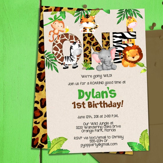 Jungle theme Birthday Invitation Awesome Jungle 1st Birthday Party Invitation Template Jungle