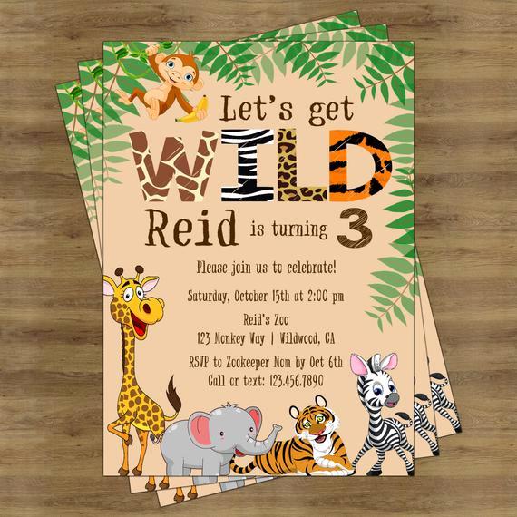 Jungle theme Birthday Invitation Awesome Safari Birthday Invitation Jungle Birthday Invitation Zoo