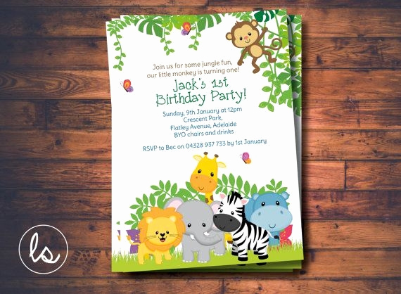 Jungle theme Birthday Invitation Best Of Jungle Birthday Invitation Jungle Animals Safari