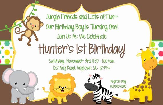 Jungle theme Birthday Invitation Best Of Printable Jungle themed Birthday Invitation 5x7 by
