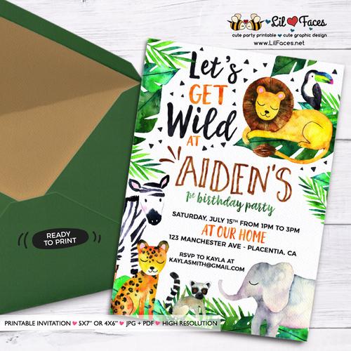 Jungle theme Birthday Invitation Elegant Safari Jungle Birthday Party Printable Invitations Cute