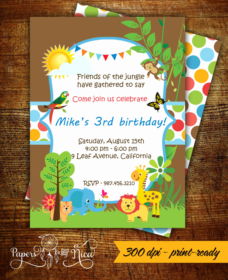Jungle theme Birthday Invitation Inspirational Safari Birthday Invitation Jungle theme Printable Invitation