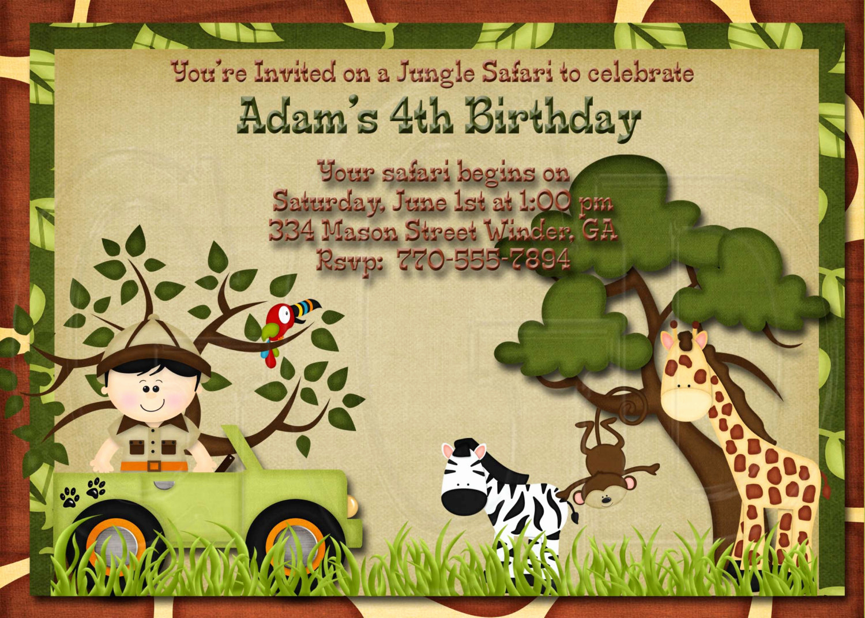 Jungle theme Birthday Invitation Luxury Jungle Safari Zoo Birthday Invitation Digtial File