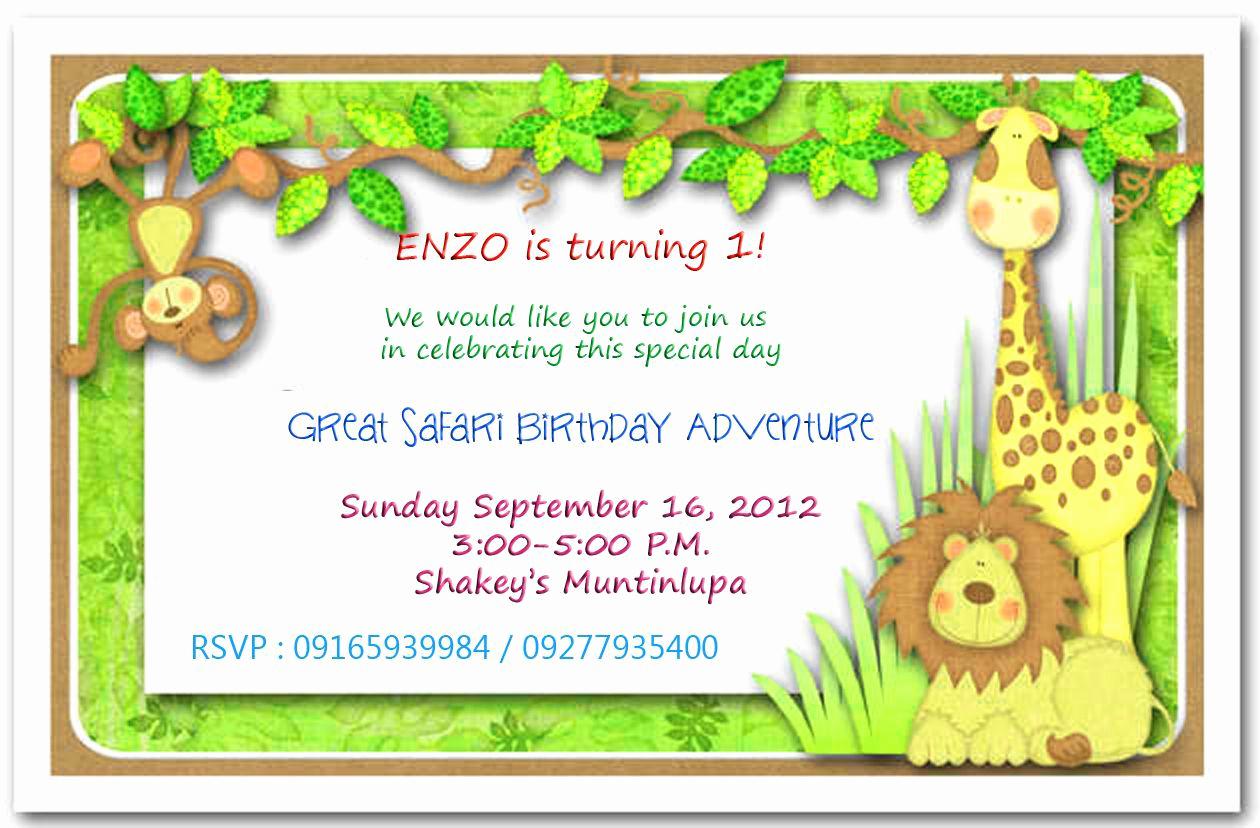Jungle theme Birthday Invitation Luxury Jungle themed 1st Birthday Invitations Safari themed