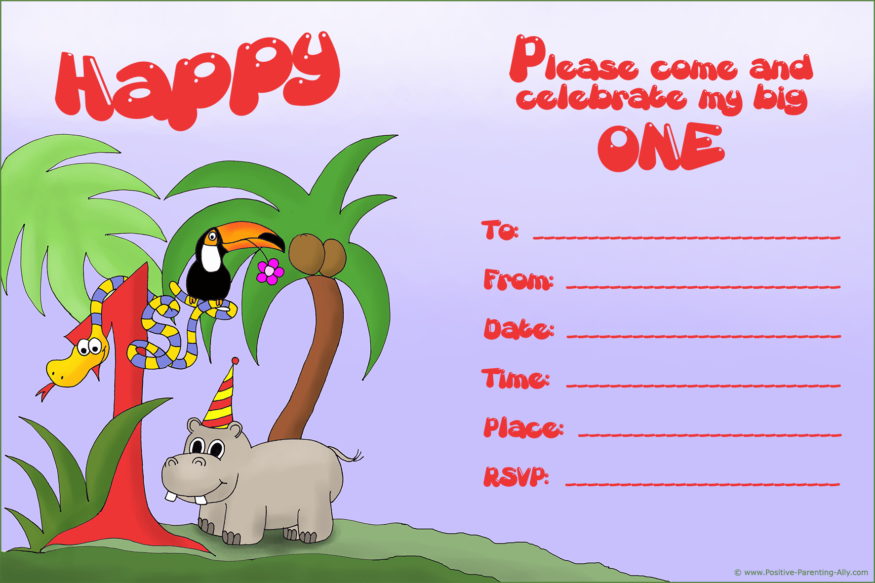 Jungle theme Birthday Invitation New Lots Of First Birthday Party Invitations Free and Printable