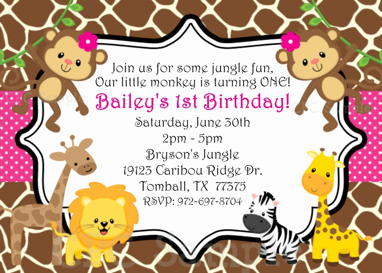 Jungle theme Birthday Invitation Unique Safari themed First Birthday Invitation Wording