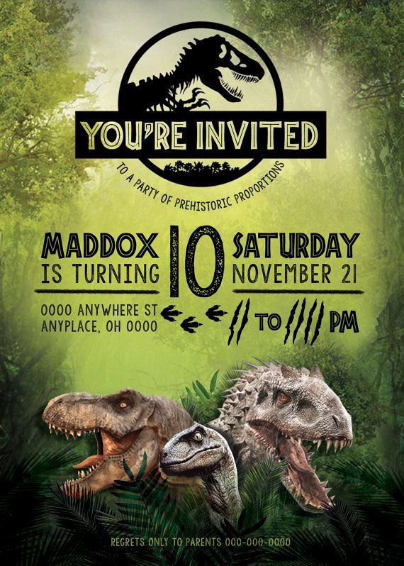 Jurassic World Invitation Template Free Elegant Jurassic World Birthday Invitation Jurassic World Party