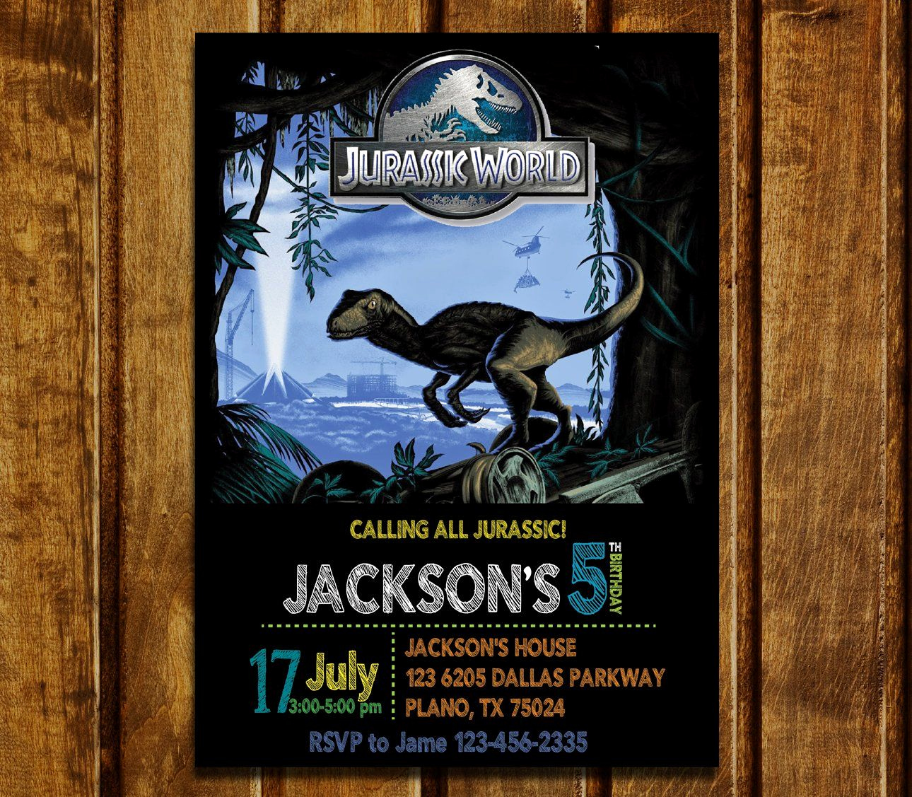 Jurassic World Invitation Template Free Inspirational Jurassic World Birthday Invitations Jurassic Park