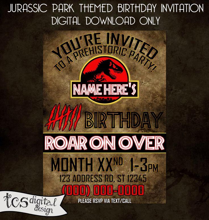 Jurassic World Invitation Template Free Lovely Jurassic Park Personalized Birthday Invitation Digital