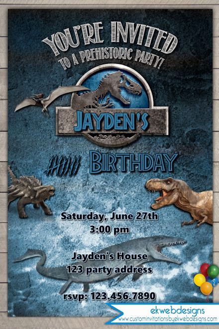 Jurassic World Invitation Template Free Lovely Jurassic World Birthday Invitation Jurassic Park Invitation