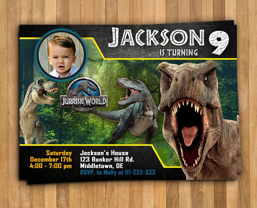 Jurassic World Invitation Template Free Unique Jurassic World Invitation Personalized Invitation 5x7