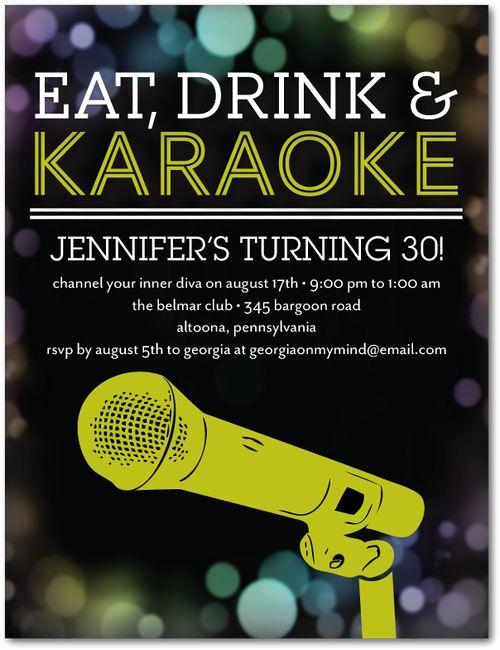 Karaoke Party Invitation Wording Awesome Karaoke Idol Adult Birthday Party Invitations Postcard