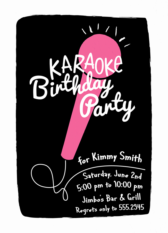 Karaoke Party Invitation Wording Awesome Karaoke Invite by Two Pooch Paperie