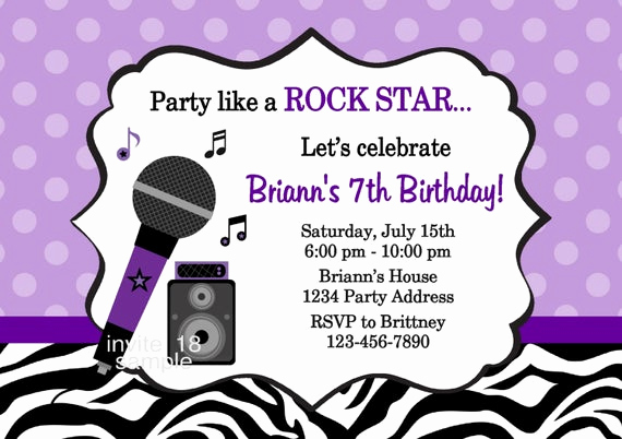 Karaoke Party Invitation Wording Awesome Rock Star Invitation Zebra Print Karaoke Birthday Party