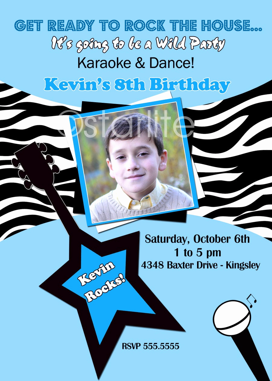 Karaoke Party Invitation Wording Beautiful Karaoke Pop Star Photo Birthday Party Invitation Boy by