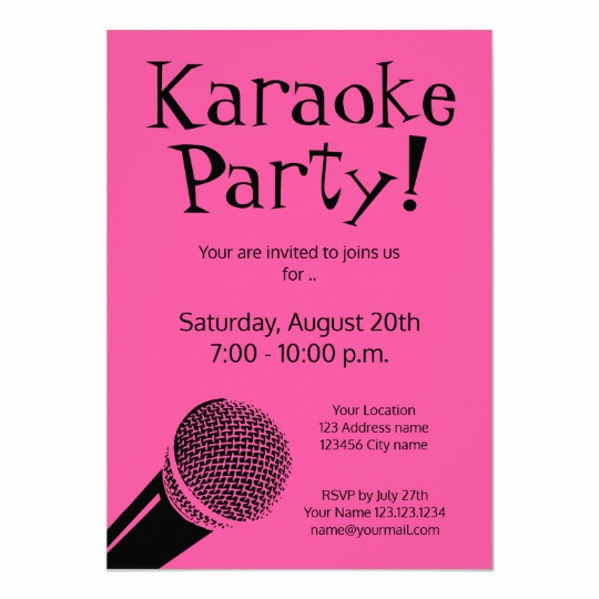 Karaoke Party Invitation Wording Best Of Custom Karaoke Party Invitations with Microphone