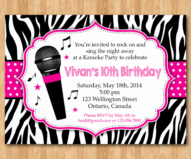 Karaoke Party Invitation Wording Best Of Karaoke Party Invitation Girl Karaoka Birthday Rockstar Party