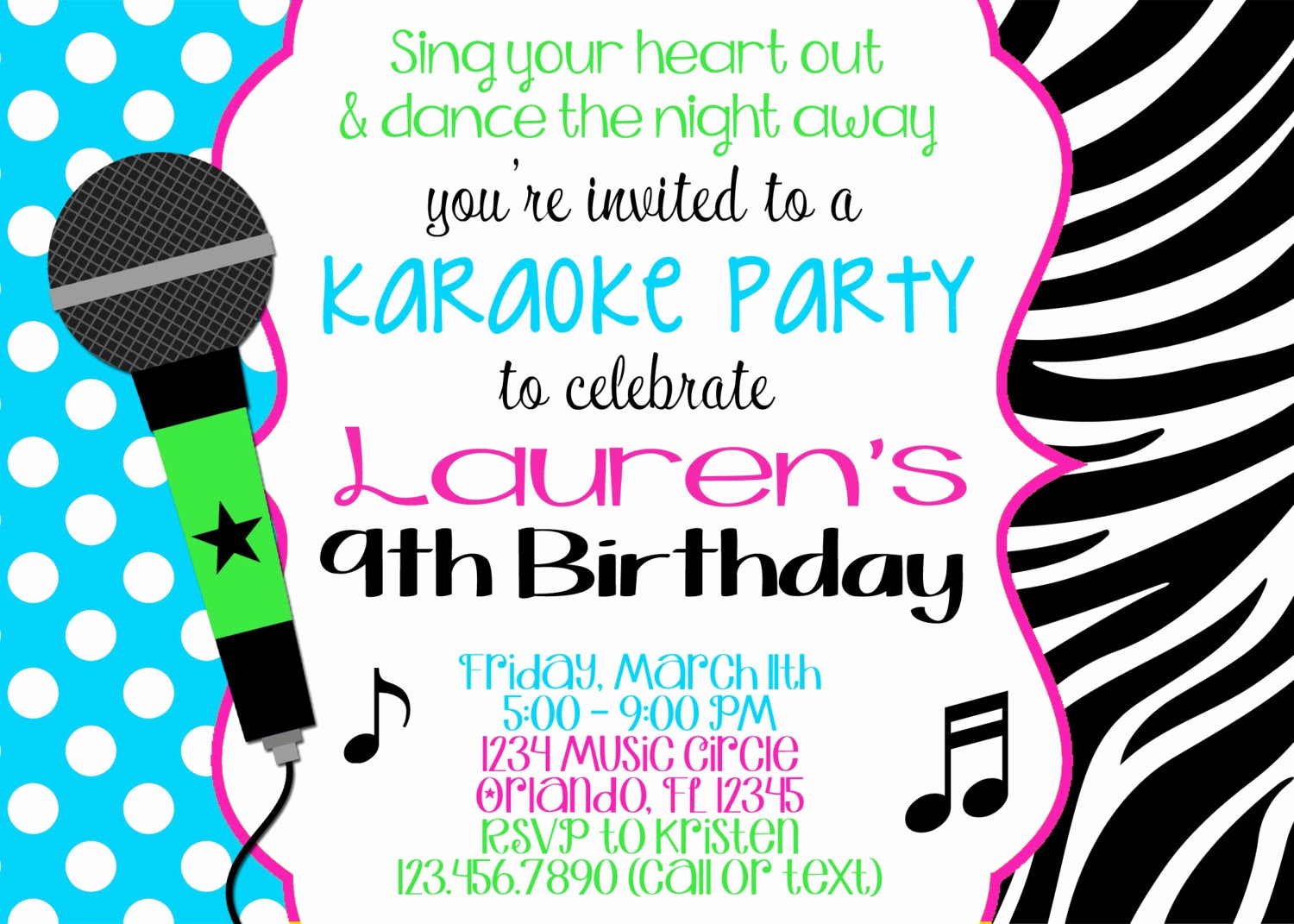 Karaoke Party Invitation Wording Inspirational Karaoke Girl 5x7 Birthday Invitation Printable