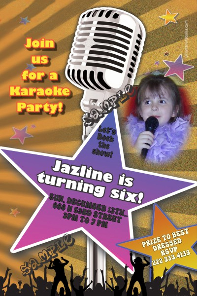 Karaoke Party Invitation Wording Lovely Karaoke Birthday Invitation