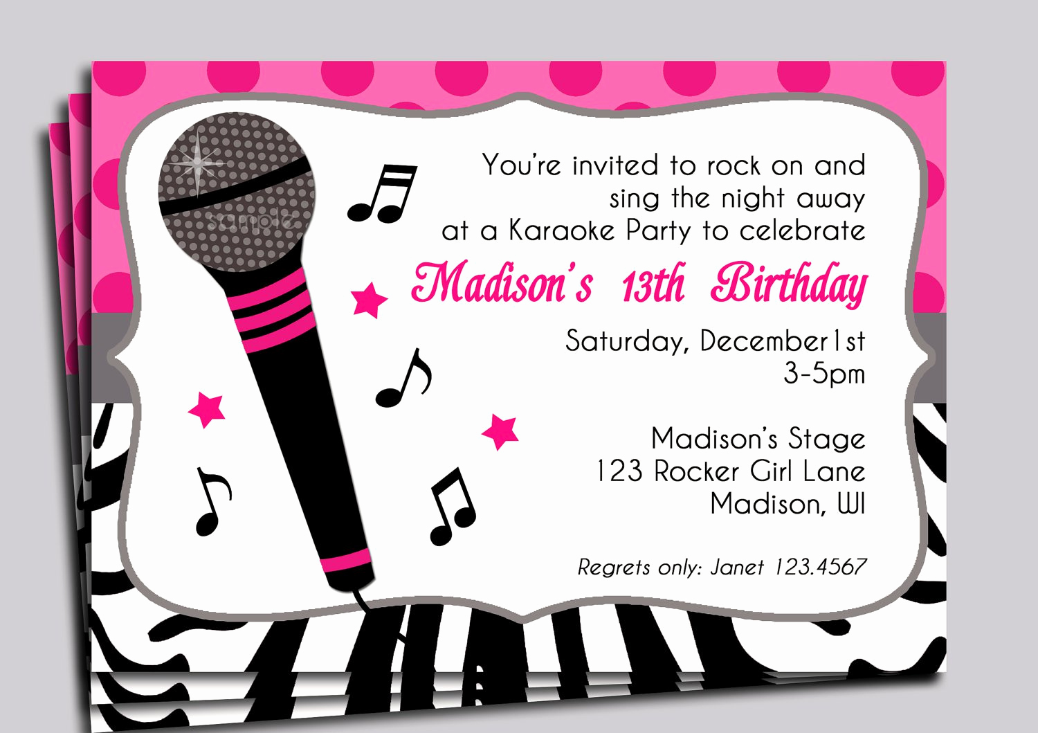 Karaoke Party Invitation Wording Lovely Music themed Birthday Party Invitations
