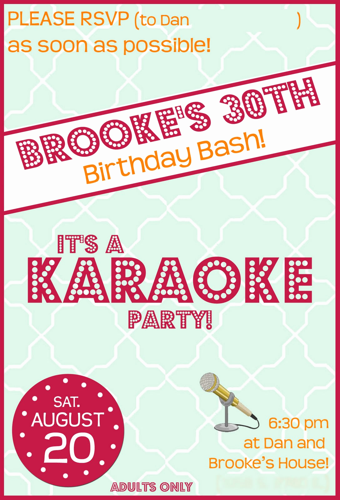 Karaoke Party Invitation Wording Luxury 30th Birthday Party
