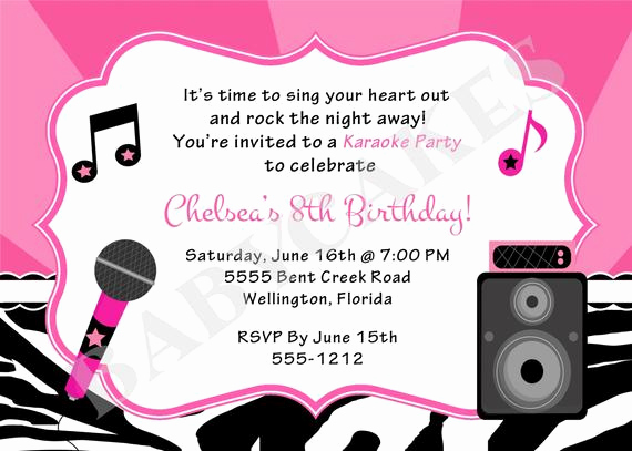 Karaoke Party Invitation Wording Luxury Karaoke Party Birthday Invitation Diy Print Your by