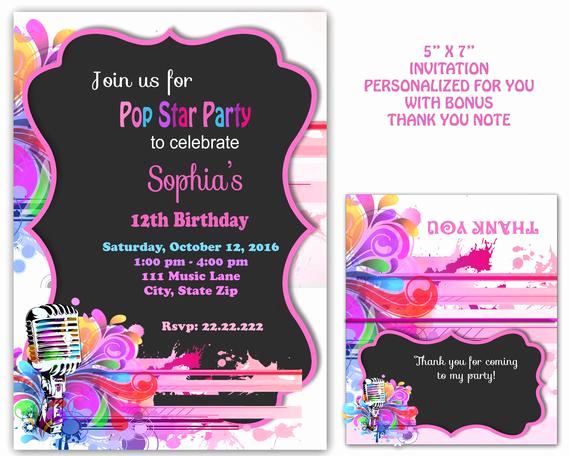 Karaoke Party Invitation Wording Luxury Pop Star Party Pop Star Invitation Kareoke Invitation