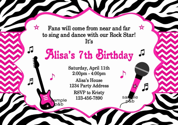 Karaoke Party Invitation Wording New Karaoke Invitation Rockstar Invitation Zebra and Chevron