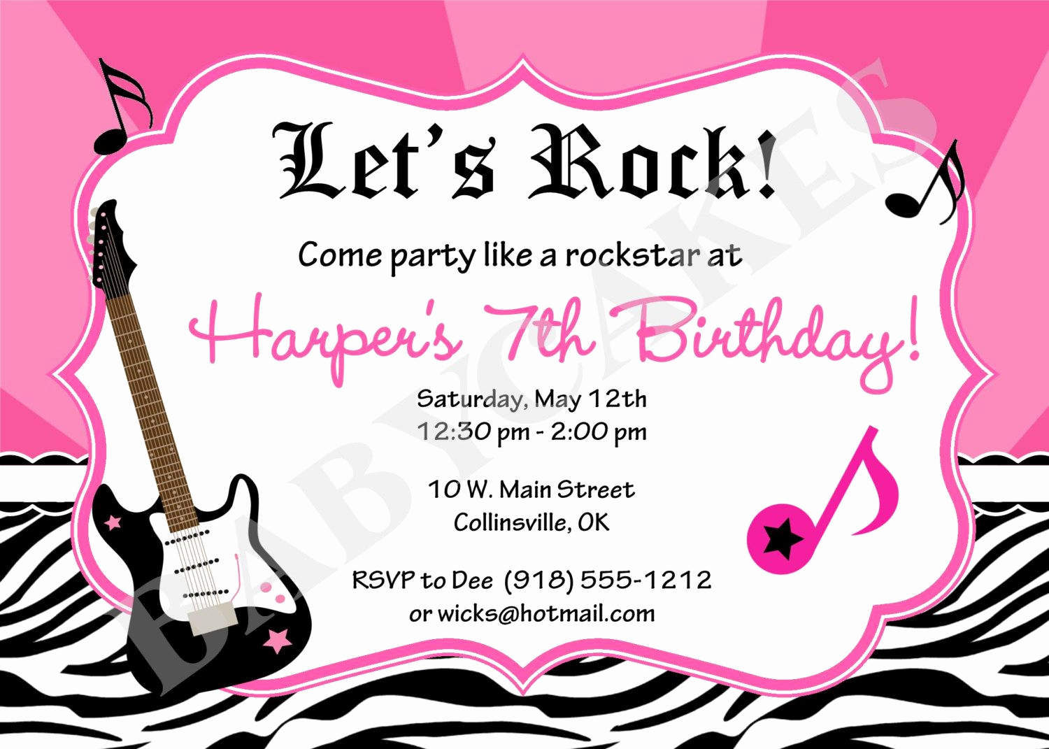 Karaoke Party Invitation Wording Unique Rockstar Birthday Party Invitation Zebra Print by