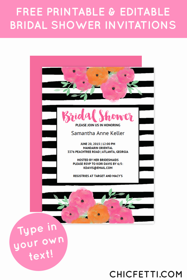 Kate Spade Invitation Template Free Best Of Free Printable Floral Bridal Shower Invitation Templates