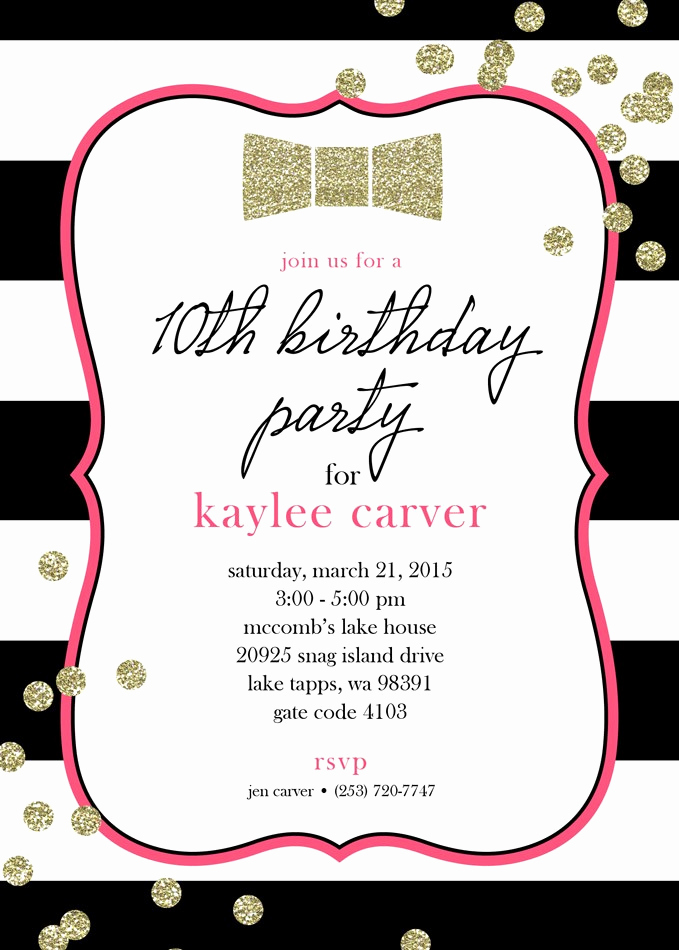 Kate Spade Invitation Template Free Luxury Kate Spade Inspired Bow Gold Glitter Printable Invitation