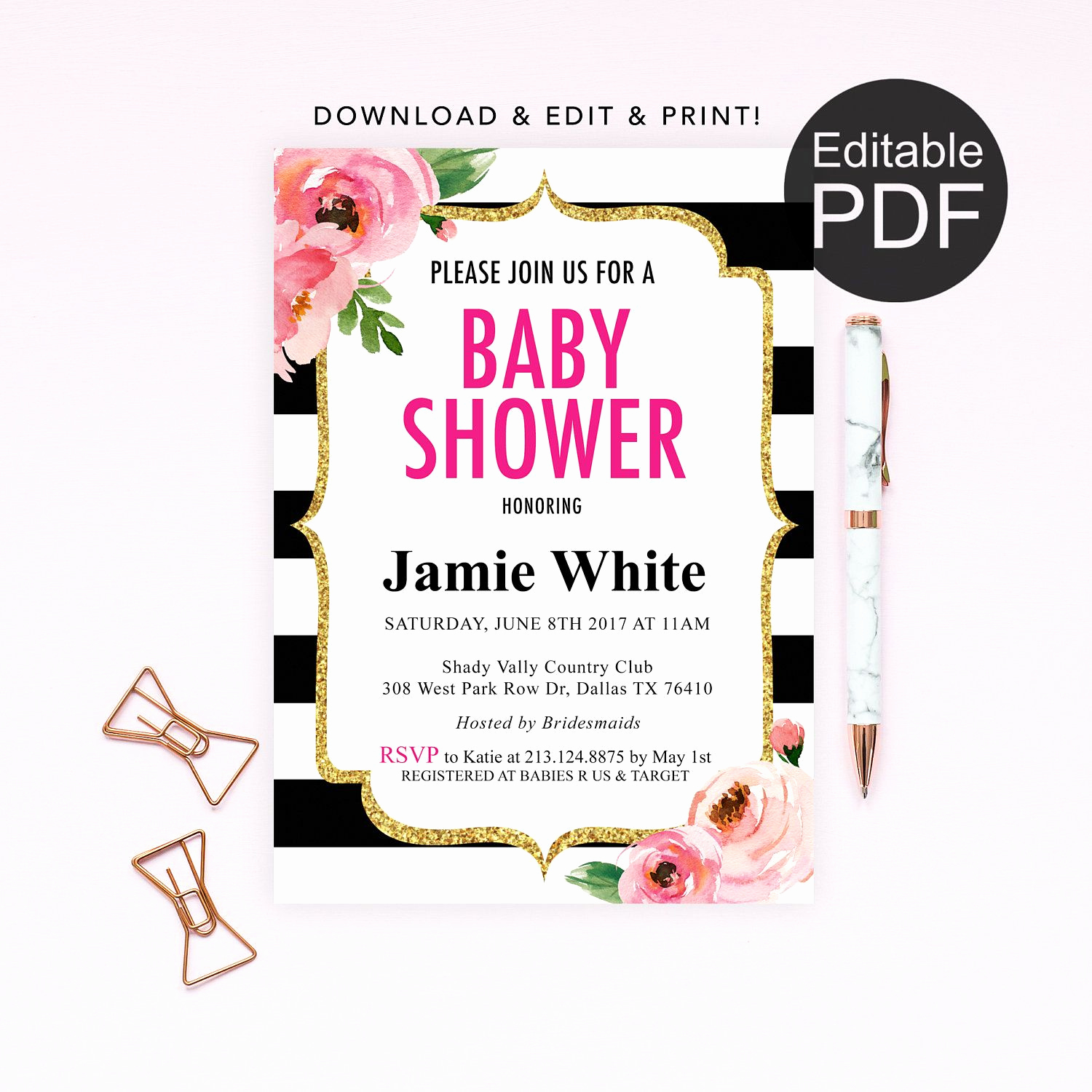 Kate Spade Invitation Template Free New Diy Kate Spade theme Baby Shower Invitation Template