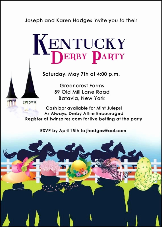 Kentucky Derby Invitation Templates Free Awesome Kentucky Derby Party Invitation La S Hats Invitation