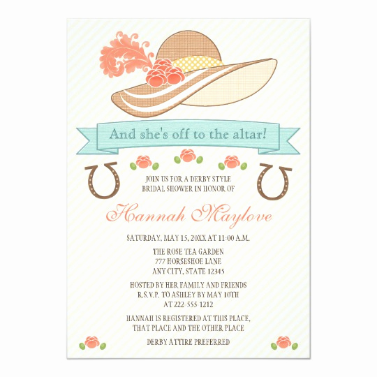 Kentucky Derby Invitation Templates Free Elegant Kentucky Derby Hat Bridal Shower Invitation