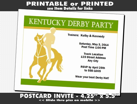 Kentucky Derby Invitation Templates Free Elegant Kentucky Derby Party Invitation Printable with Printed