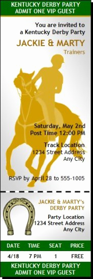 Kentucky Derby Invitation Templates Free Elegant Kentucky Derby Party Ticket Invitation