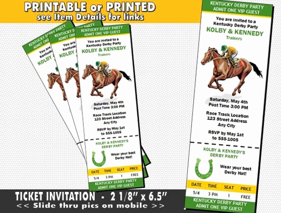 Kentucky Derby Invitation Templates Free Elegant Kentucky Derby Party Ticket Invitation Printable with Printed