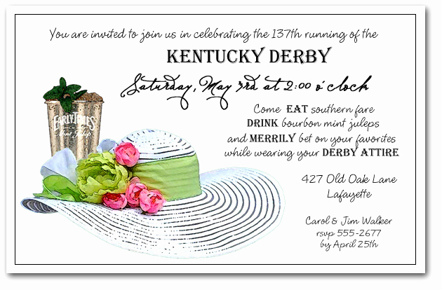 Kentucky Derby Invitation Templates Free Fresh Mint Julep & White Derby Hat Party Invitations