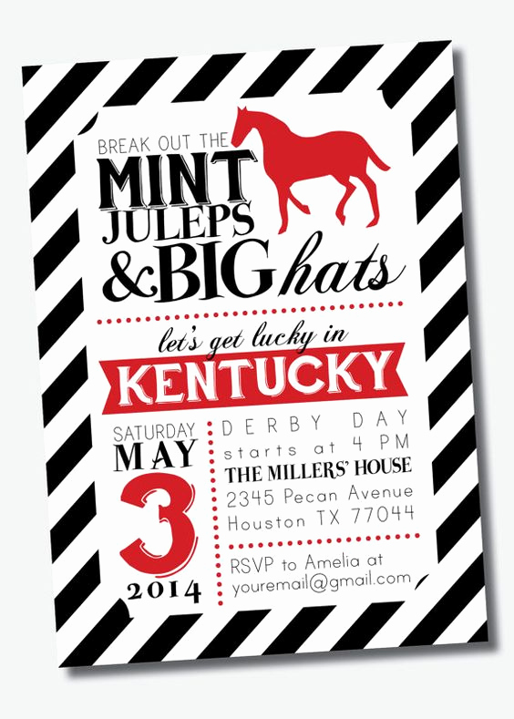 Kentucky Derby Invitation Templates Free Inspirational Customizable Kentucky Derby Party Invitation