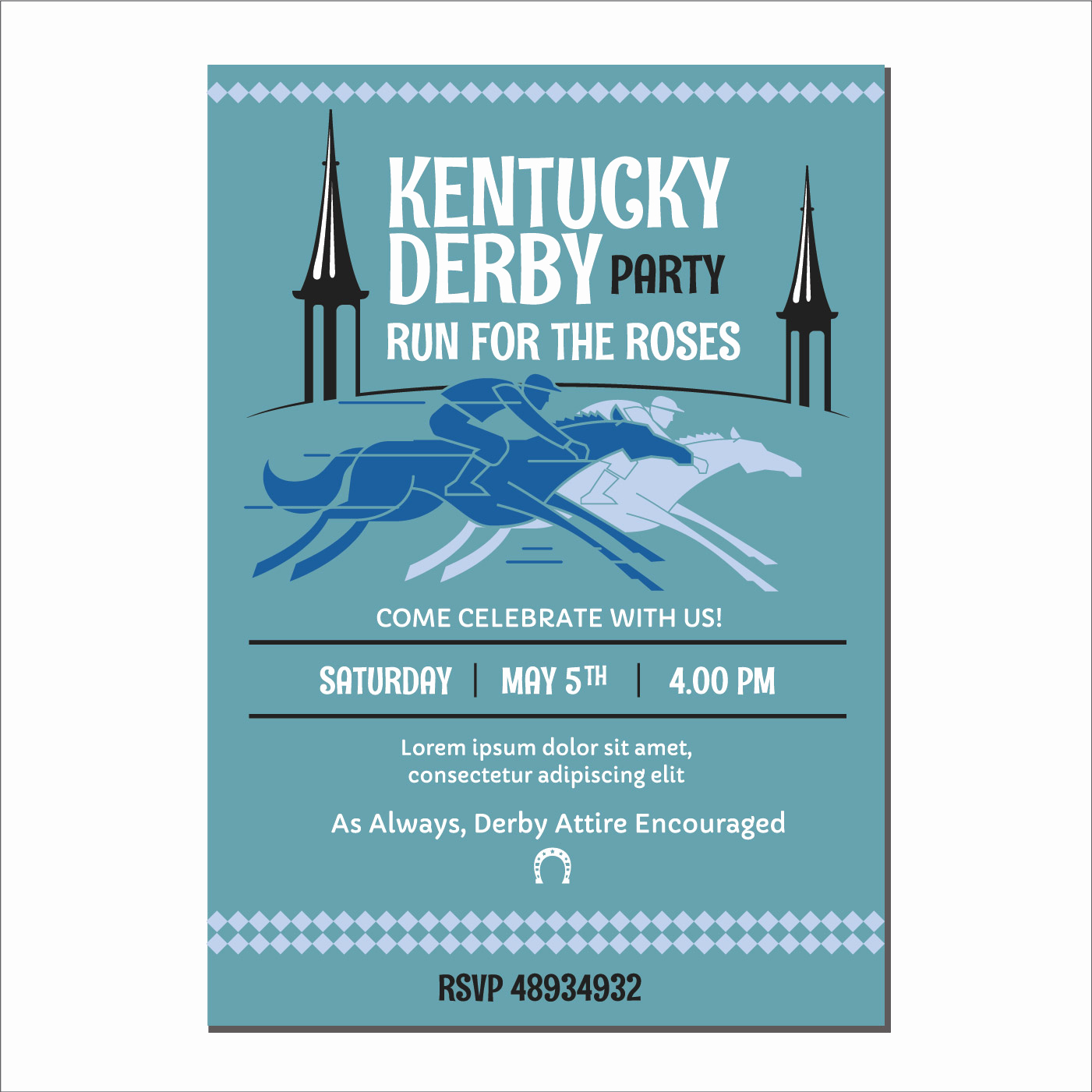 Kentucky Derby Invitation Templates Free Inspirational Jockey On A Thoroughbred Horse Runs On Kentucky Derby