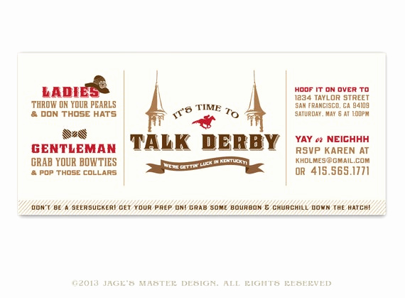 Kentucky Derby Invitation Templates Free Inspirational Printable Kentucky Derby Party Invitation by Jacksmaster